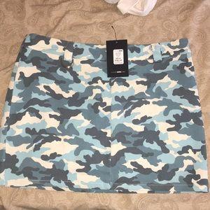 Fashion nova blue camo skirt